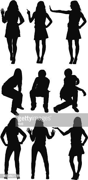 silhouette of casual people in different poses - attitude stock illustrations, clip art, cartoons, & icons