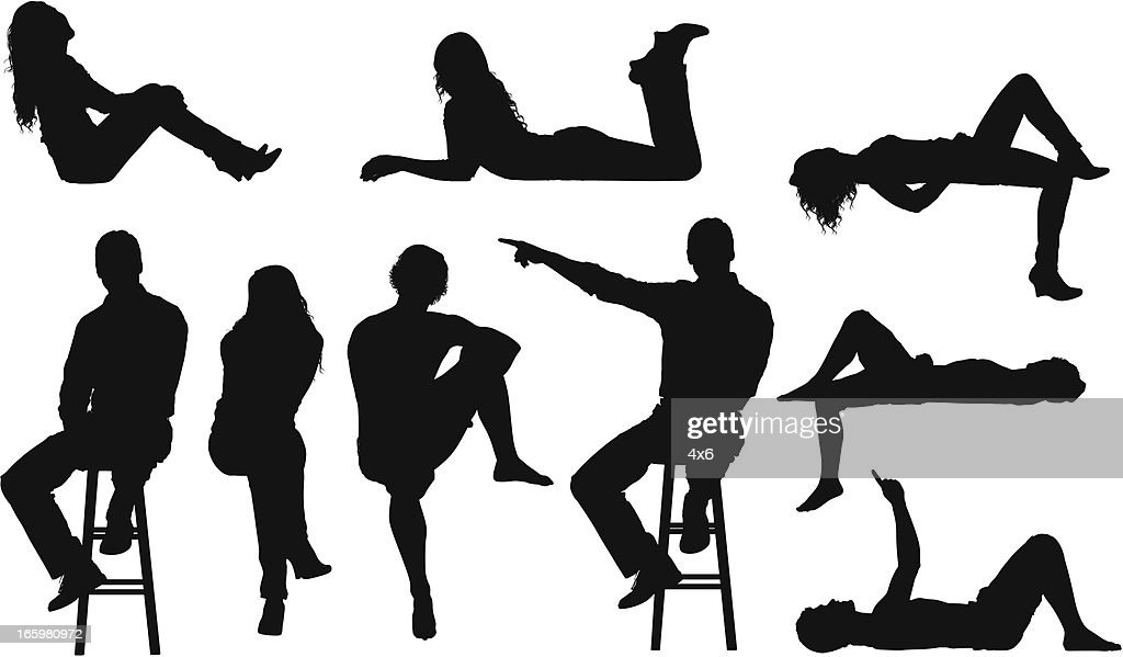 Silhouette of casual people in different poses : stock illustration