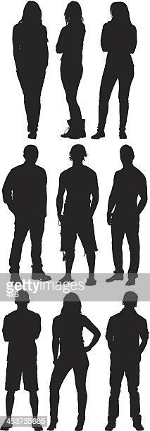 Silhouette of casual people posing