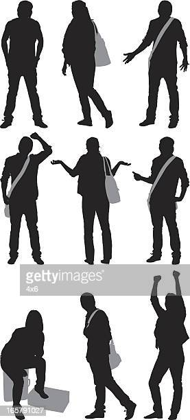 silhouette of casual people - shrugging stock illustrations, clip art, cartoons, & icons