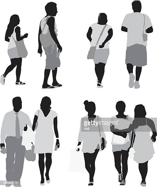 silhouette of casual people - arm in arm stock illustrations, clip art, cartoons, & icons