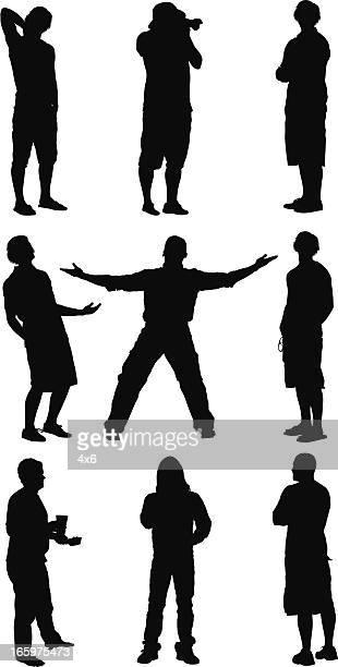 silhouette der legeren personen - hände hinter dem kopf stock-grafiken, -clipart, -cartoons und -symbole
