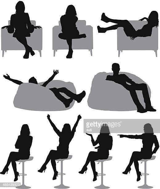 Silhouette of casual people