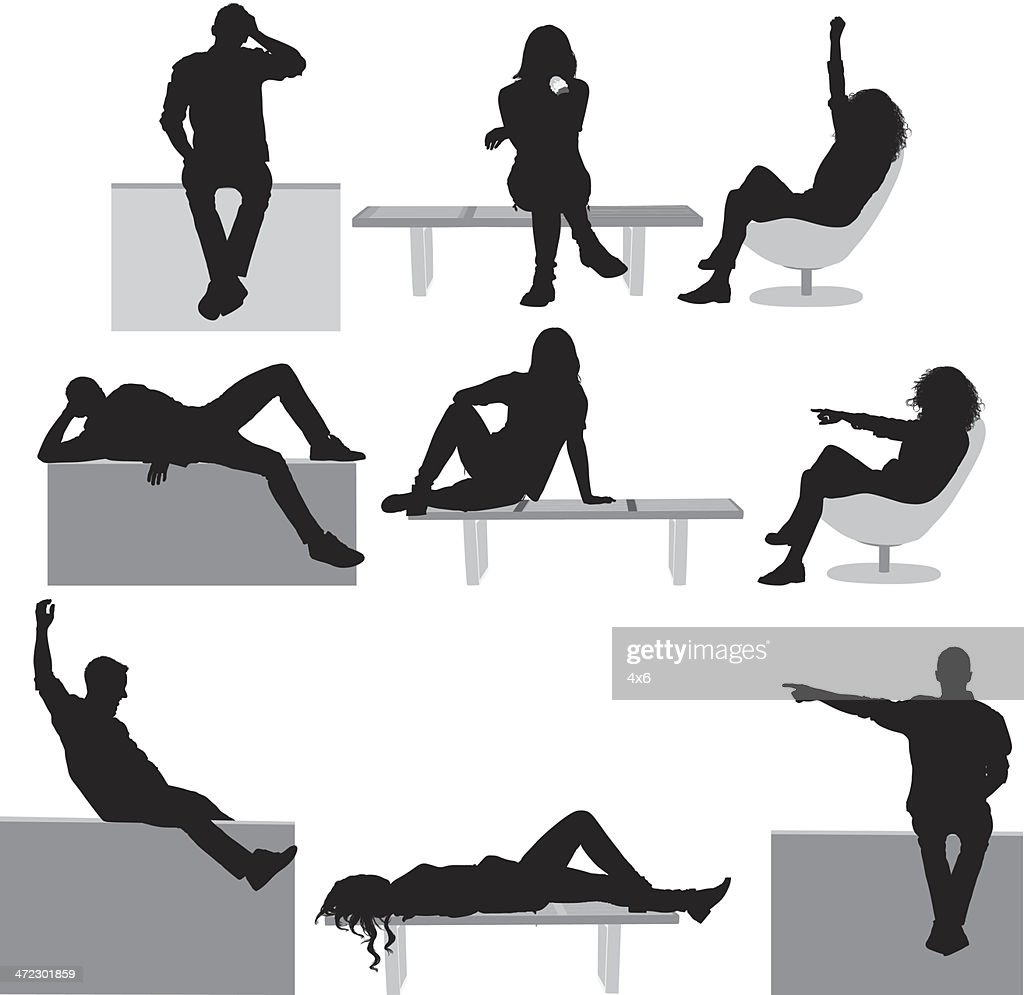 Silhouette of casual people : stock illustration