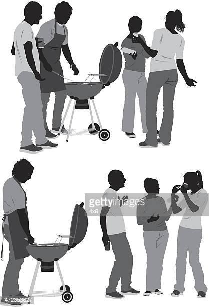 Silhouette der legeren Personen
