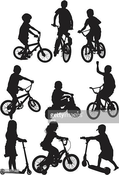 Silhouette of children in different action