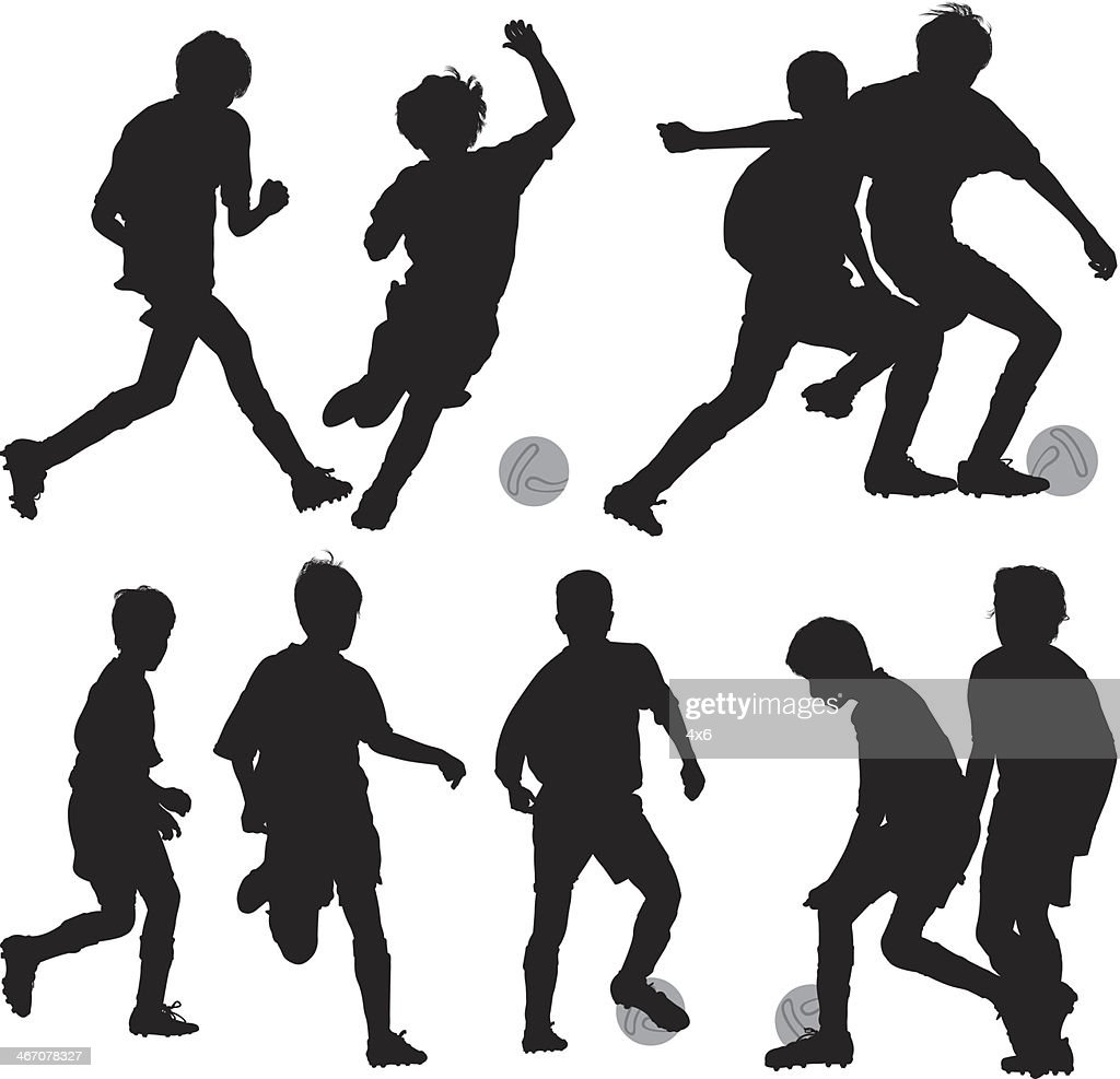 silhouette of children playing soccer vector art