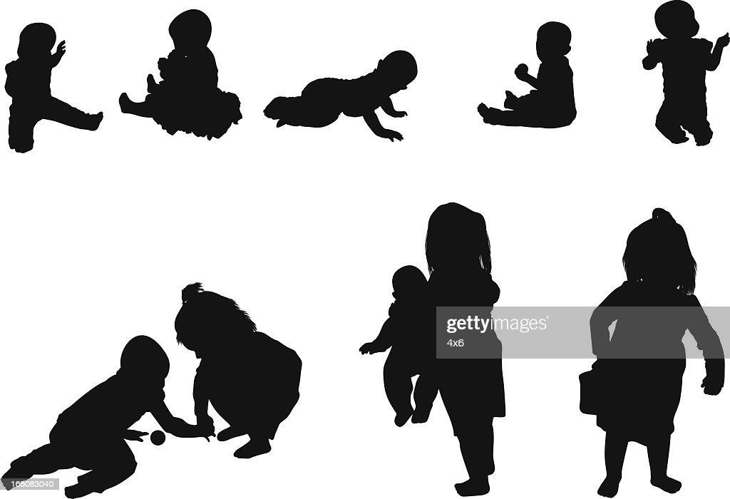 Silueta de los niños : Ilustración de stock