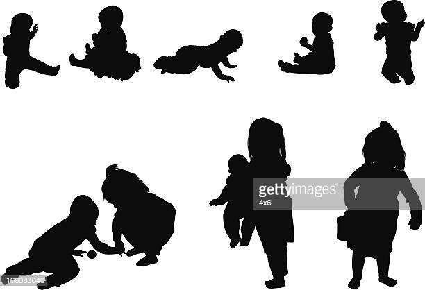 silhouette of children - image technique stock illustrations