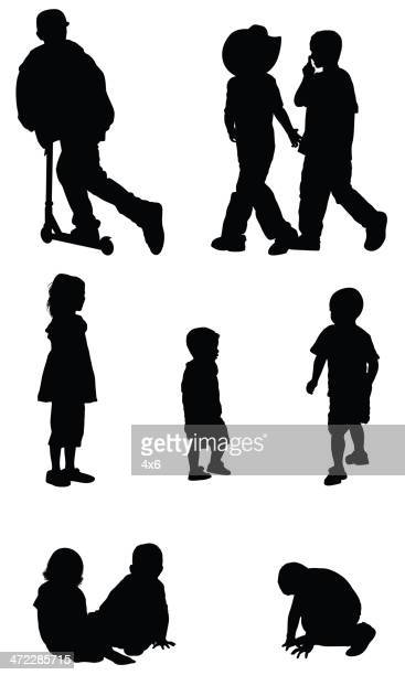 silhouette of children - crouching stock illustrations, clip art, cartoons, & icons
