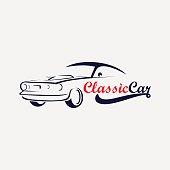 silhouette of classic car emblem icon, automotive emblem