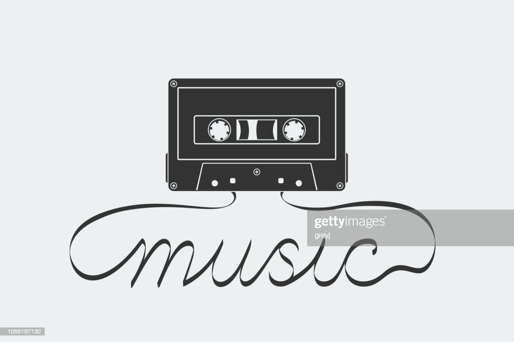 Silhouette of compact cassette with analog magnetic audio tape in form and shape of 'music' text