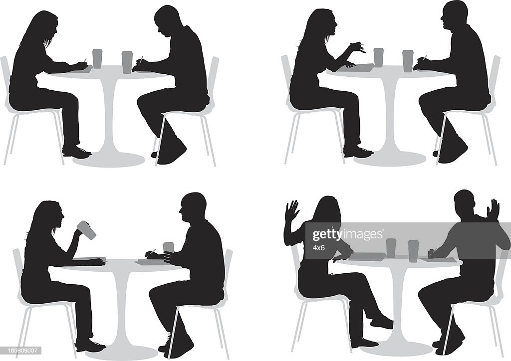 Silhouette der Paar in einem restaurant : Stock-Illustration