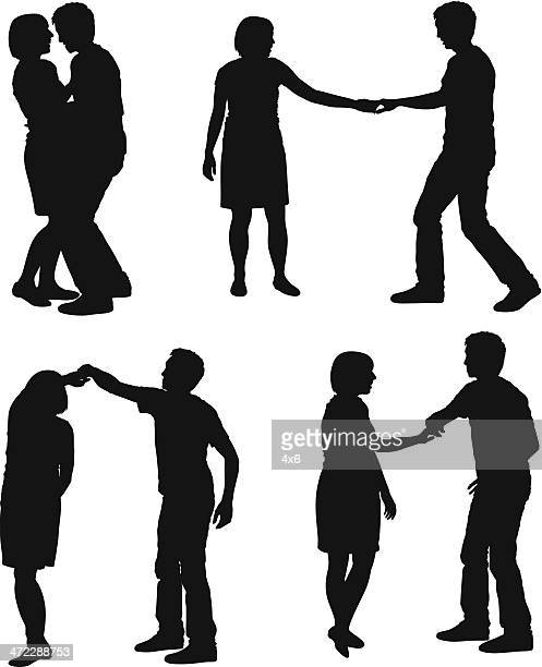 ilustraciones, imágenes clip art, dibujos animados e iconos de stock de siluetas de las parejas de baile - pareja bailando cuerpo entero