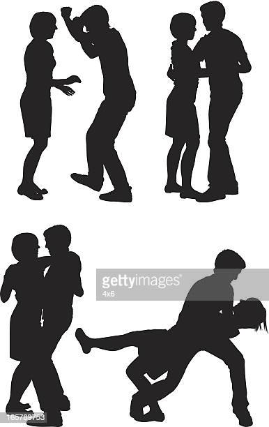 silhouette of couples - salsa dancing stock illustrations, clip art, cartoons, & icons