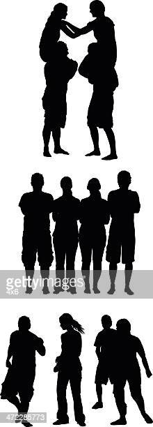 Silhouette of couples