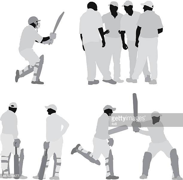 silhouette of cricket players - cricket player stock illustrations