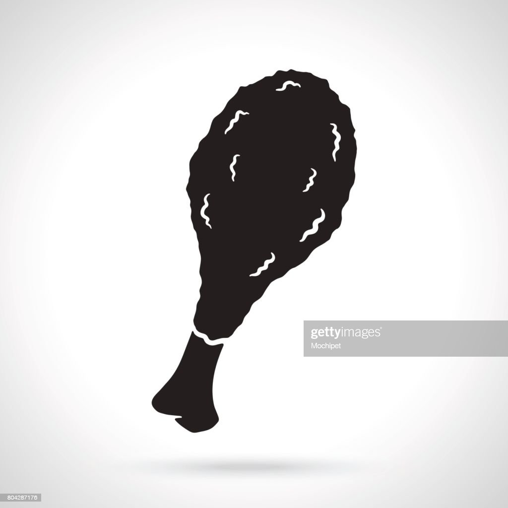 Silhouette of deep-fried chicken leg