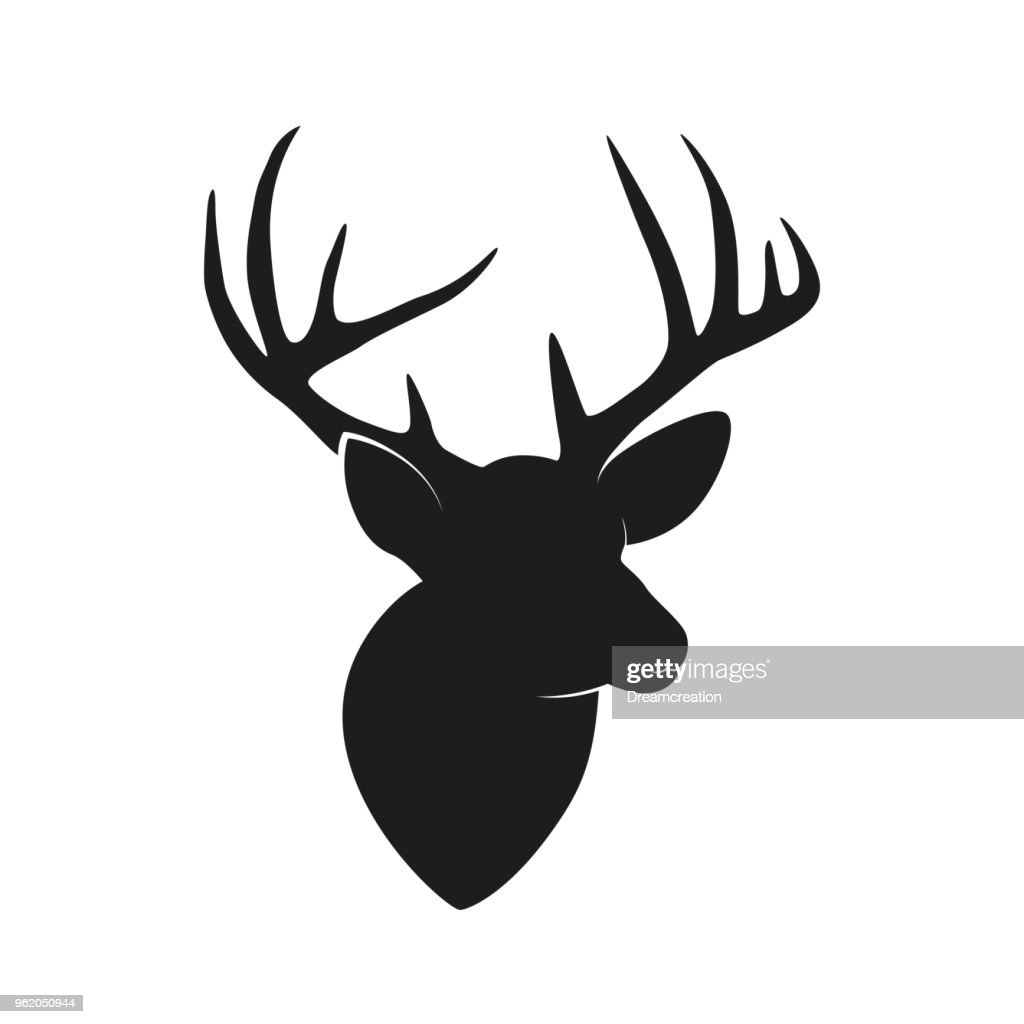 Silhouette of deer head with antlers isolated on white background