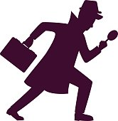Silhouette of detective character design