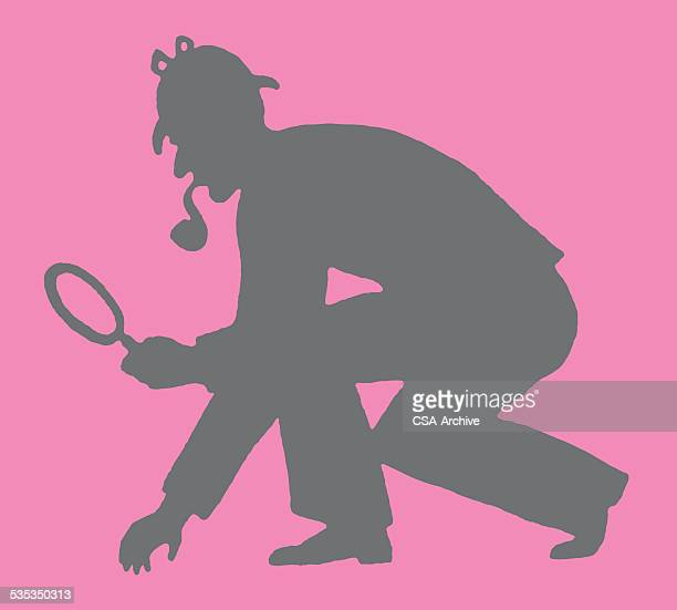 silhouette of detective - sherlock holmes stock illustrations