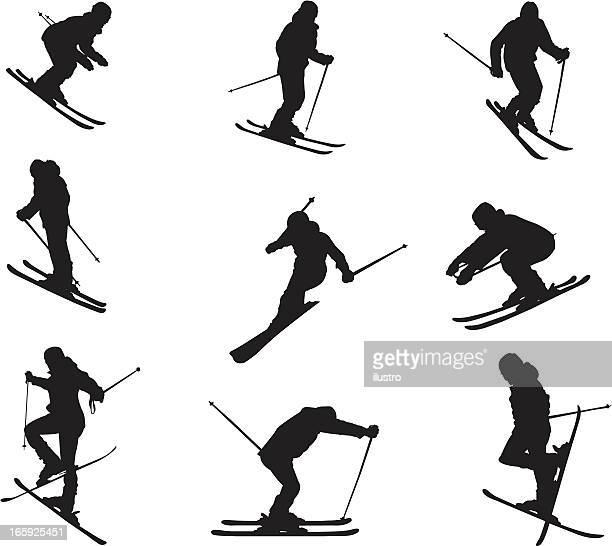 Silhouette of different skiing skills and movements