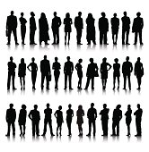 Silhouette Of Diverse Crowd Of Business People