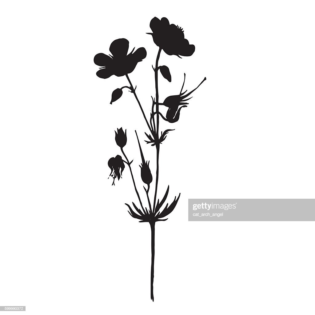 silhouette of drawing flowers