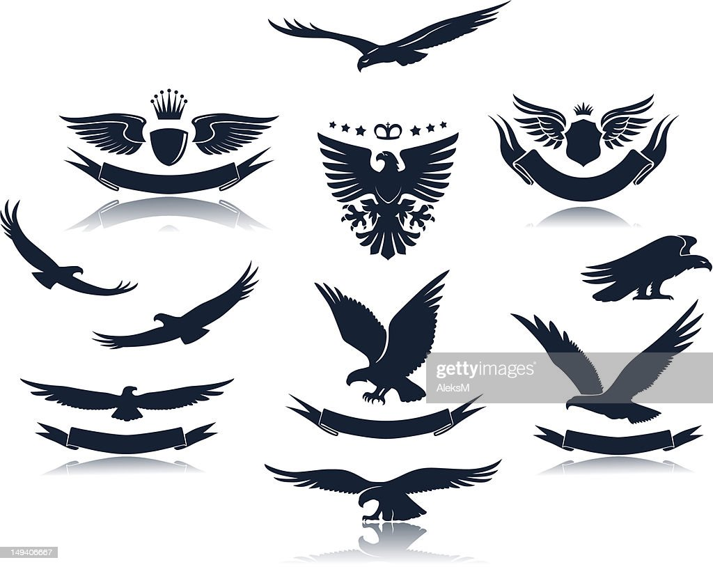 Silhouette of eagle stances with emblems