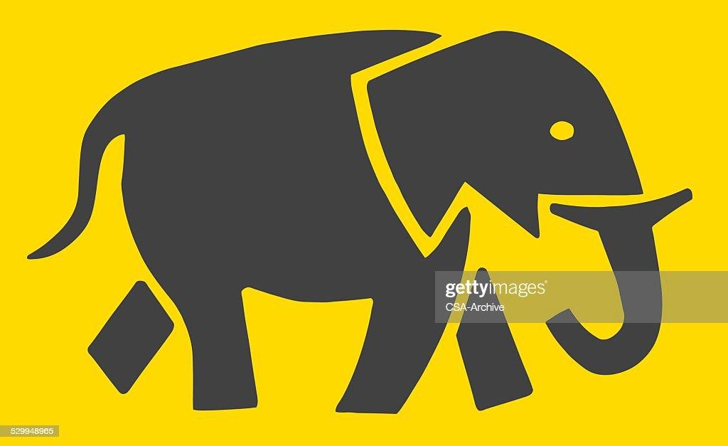 Silhouette of Elephant : Vector Art