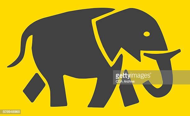 ilustraciones, imágenes clip art, dibujos animados e iconos de stock de silueta de elefante - pintura rupestre