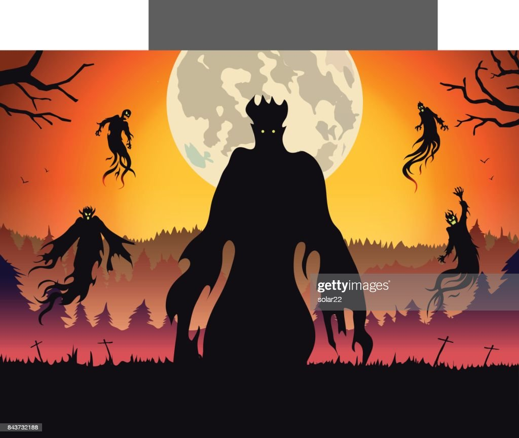 Silhouette of evil spirit flying on forest at full moon night.