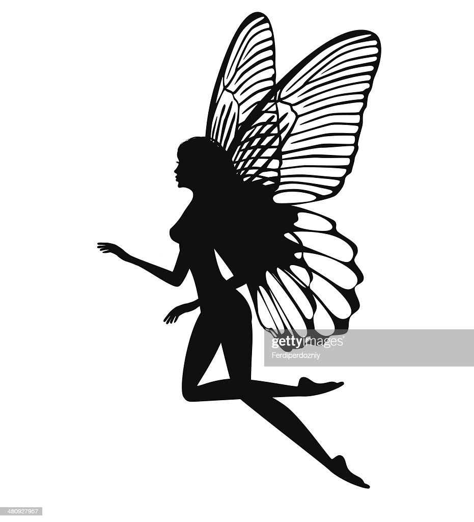 Silhouette of fairy isolated on white background