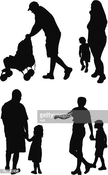 silhouette of families - baby carriage stock illustrations