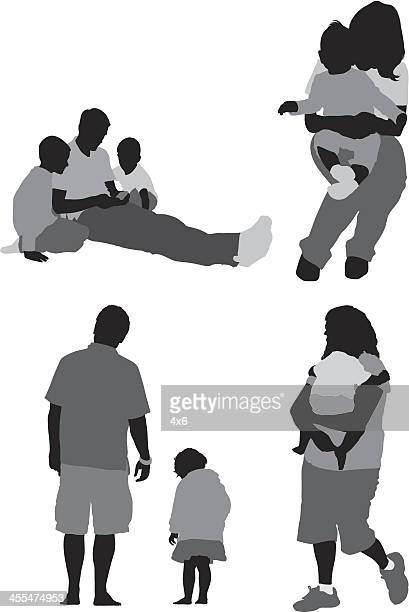 Silhouette of families