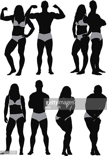 ilustraciones, imágenes clip art, dibujos animados e iconos de stock de silueta de modelos de moda - flexionar los músculos