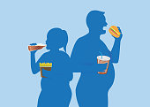 Silhouette of fat people eating fast food.