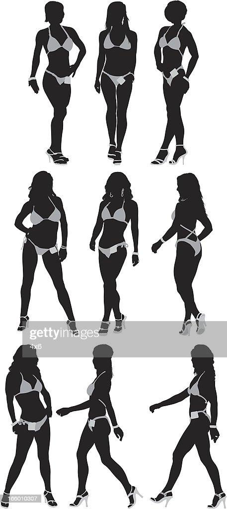 Silhouette of female body builders
