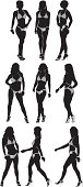 Silhouette of female body builders