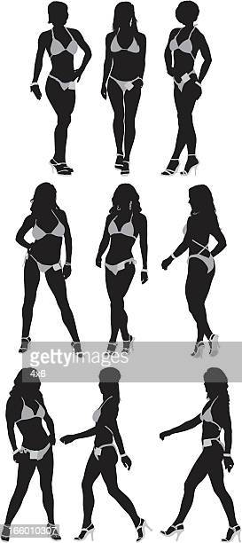 Silhouette der weiblichen Körper builders