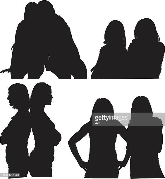 Silhouette of female friends
