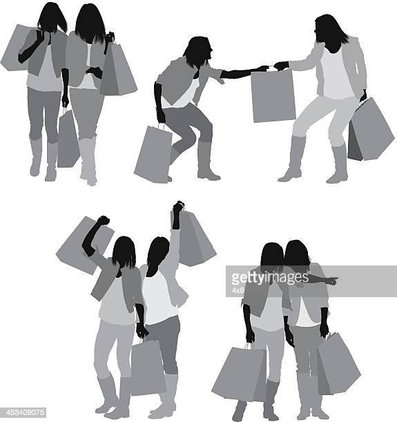 illustrations, cliparts, dessins animés et icônes de silhouette de femme avec des sacs de vos amis - chaussures noires