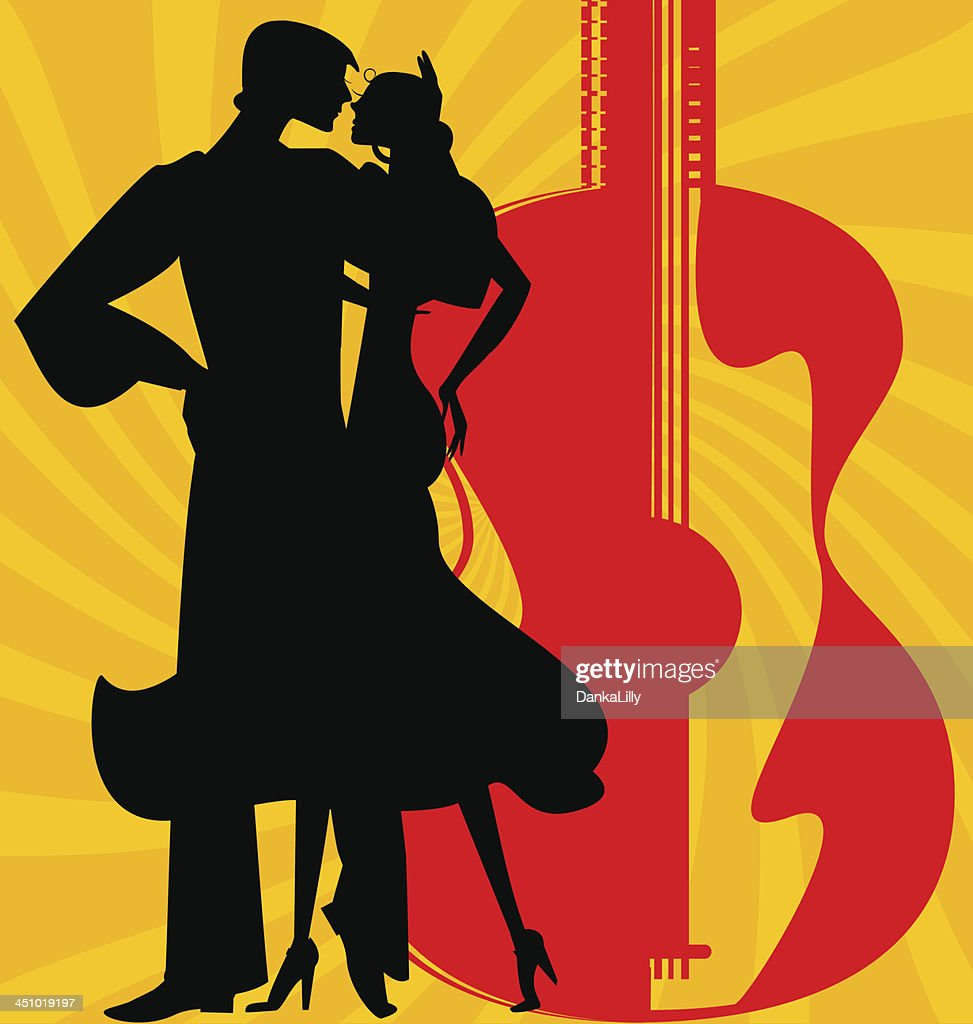 silhouette of  flamenco dancers