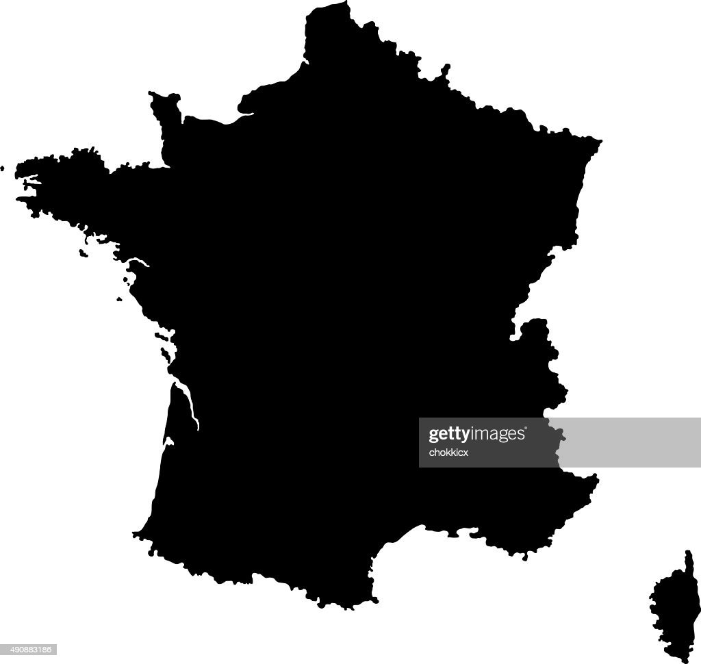 Silhouette Of France Map Vector Art Getty Images - Map silhouette