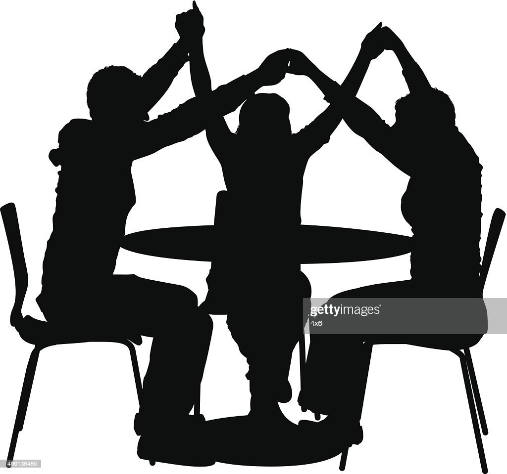 Silhouette Of Friends Sitting In A Round Table Vector Art | Getty Images for People Sitting At Table Png  177nar