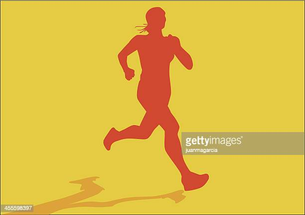 Silhouette of girl athlete. Woman jogging