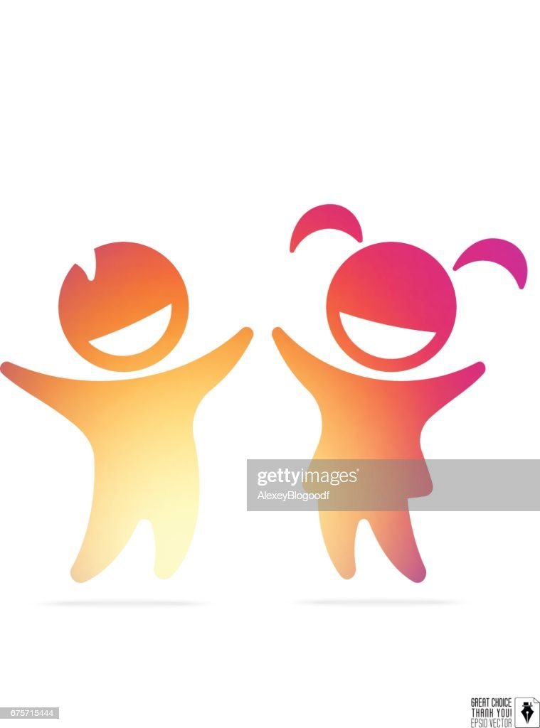Silhouette of happy children: boy and girl with gradient inside for education, healthcare clinic, kindergarten icon