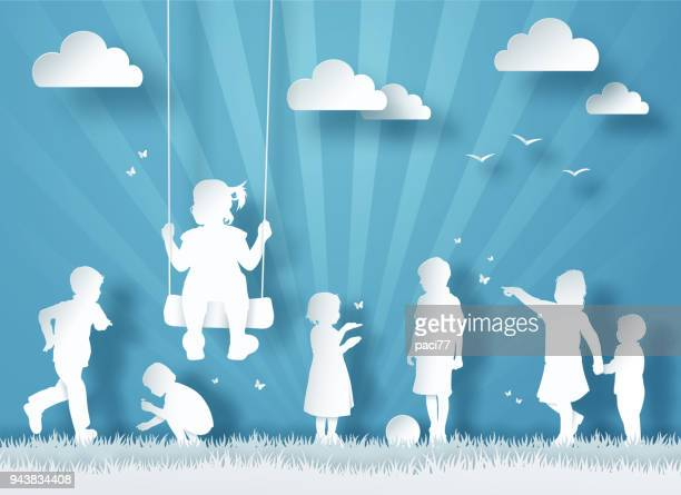 silhouette of happy children playing. paper cut style - paper craft stock illustrations