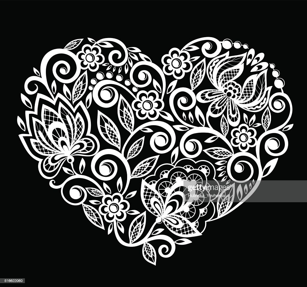 Silhouette Of Heart Lace Flowers Leaves Isolated On White Vector Art