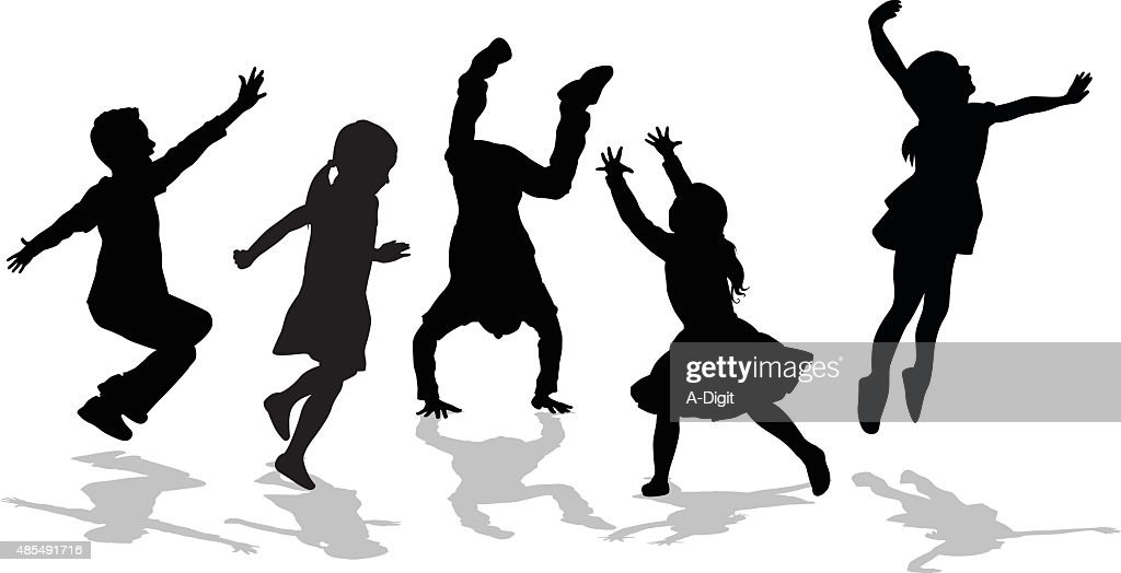 Silhouette Of High Energy Active Kids : stock illustration